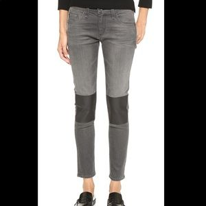 Rag & Bone Tomboy Bond Grey Jeans w/ Knee Patch